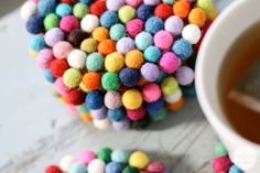 Cute! DIY Wool Felt Ball Coasters