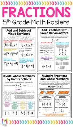 Savings Challenge Discover Grade Math Posters These fractions anchor charts are the perfect addition to your grade students interactive notebooks. These math posters are written in student friendly language and are ready to print to save you tons of time. Teaching Fractions, Multiplication, Teaching Math, Dividing Fractions, Multiplying Fractions, Adding And Subtracting Fractions, Teaching 5th Grade, Fractions Worksheets, Mind Maps