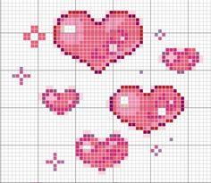 Love, hearts cross stitch