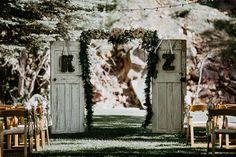 Wood door ceremony backdrop