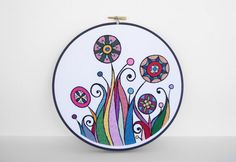 rainbow embroidered abstract flowers