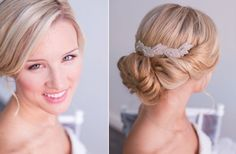 Chic twist updo with bridal hairpiece