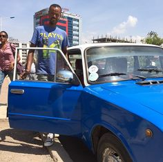 "March 30, 2015: This is Shimedlis. He drives this Lada taxi - a Russian workhorse. ""It's strong,"" he says."