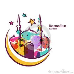 Ramadan Kareem Greeting Card With Watercolor Isolated Illustration Of Multicolor Mosque On Moon. Stock Vector - Illustration of greeting, card: 72656819 Ramadan Cards, Ramadan Greetings, Ramadan Gifts, Islamic Decor, Islamic Art, Eid Mubarak Wallpaper, Eid Greeting Cards, Doodle Art Posters, Pop Art Artists