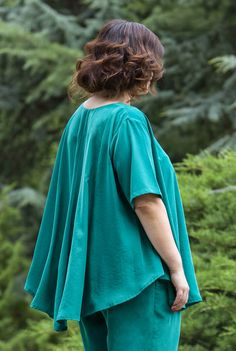 Bluza larga verde SNK PLUS 04 - AMA Fashion Bell Sleeves, Bell Sleeve Top, Plus Size, Tops, Women, Fashion, Green, Moda, Women's