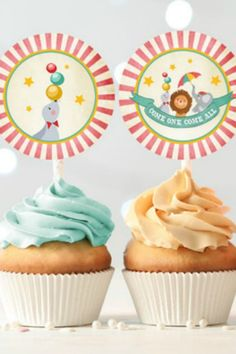 Cupcakes are a must-have party food that are really easy to add to your party. Simply grab some store-bought ones with colorful frosting (or even bake them if you're adventurous) and just place these cute carnival toppers on them. What could be easier?! In no time, and with no hassle, you are good to go! See more party ideas and share yours at CatchMyParty.com #catchmyparty #partyideas #carnivalparty #circusparty #carnivalpartysupplies #circuspartysupplies #carnivaltheme #carnivalcupcakes