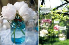 vintage wedding ideas mason jars ceremony reception decor 4