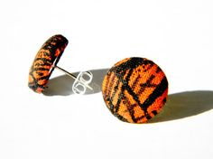 Fabric Covered Button Earrings Orange Web Item  by PiercedNPretty, $5.50