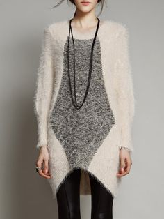 Batwing Knitted Crew Neck Shift Casual Sweater