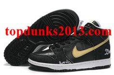 huge discount a293d cca46 Outstanding Demin  Sole Black Gold Edition Nike Dunk High Top Men