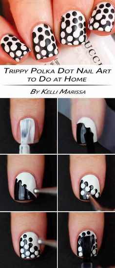 Nail Art Designs In Every Color And Style – Your Beautiful Nails Dot Nail Art, Polka Dot Nails, Nail Art Diy, Easy Nail Art, Diy Nails, Cute Nails, Polka Dots, Easy Art, Diy Nail Designs