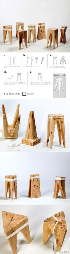 Taburetes de madera con un diseño innovador. Furniture Projects, Wood Furniture, Wood Projects, Woodworking Projects, Modern Furniture, Furniture Design, Bois Diy, Wood Design, Wood And Metal