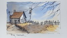 A Pen and Wash Watercolour. Fall Twilight Shadow Demonstration using onl...