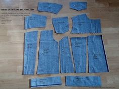 Tela Patrón Tijeras: Denim vest: DIY de un chaleco vaquero (1) Sewing Clothes, Diy Clothes, Fashion Terms, Recycled Fashion, Jacket Pattern, Sewing Techniques, Couture, Denim Fashion, Types Of Sleeves