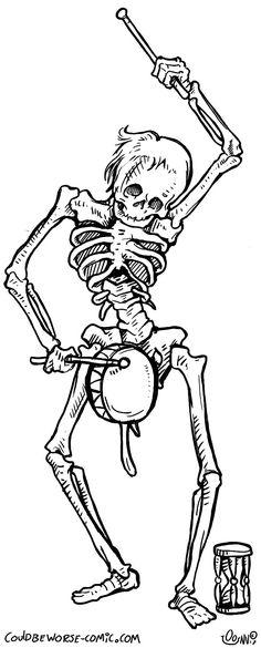 Drummer Danse Macabre, skeleton, undeath medieval art
