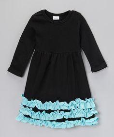 Black & Aqua Ruffle Dress - Infant, Toddler & Girls   zulily