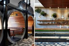 The Prahran Hotel is a fun pub outside of Melbourne that features reclaimed and recycled materials and was designed by Techne Architects.