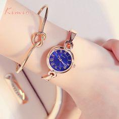 US $69.95 - KIMIO Women Bracelet Watch Simple Blue Ladies Dress Watches 2017 Rose Gold Plated Fine Stainless Steel Strip Quartz Wristwatches