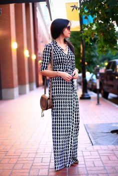 Chic Chef - DvF maxi wrap dress, Chloé bag. Love the casual elegance of the dress!