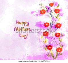 watercolor background, floral composition. Mothers day card