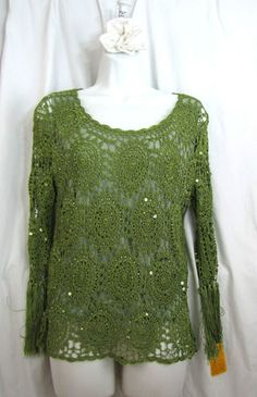 Green Crochet Lace Beaded Pullover Top with Fringed Sleeves   eBay