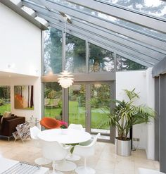lean to glass extension … Lean To Conservatory, Conservatory Extension, Conservatory Design, Bungalow Extensions, House Extensions, Glass Extension, Rear Extension, Extension Ideas, Decks