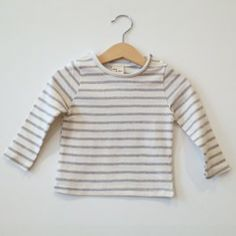 AA Striped t-shirt [grey-cream]  www.mintandpersimmon.com