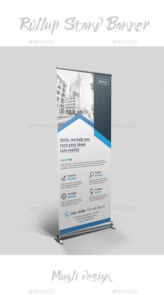 Rollup Stand Banner by Mugli Corporate roll-up banners template. This layout is suitable for any project purpose. Very easy to use and customise. Perfect for b