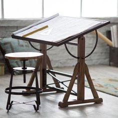 Wood and Metal Desk Drawing Board.