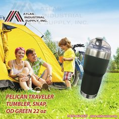 Pelican Traveler Tumbler, Snap, Od Green 22 Oz perfect for those family trips!!! http://store.aishouston.com/pelican/pelican-traveler-tumblers/traveler-tumbler-snap-od-220z.html