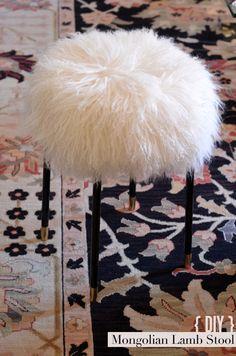 Mongolian Lamb Stool with Gold Dipped Legs Furniture Makeover, Diy Furniture, Stool Makeover, Furniture Projects, Lego Table Ikea, Diy Stool, Hacks Diy, Ikea Hacks, Repurposed Furniture