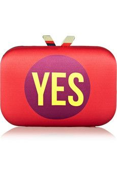 Kotur Morley Yes No printed satin box clutch | NET-A-PORTER