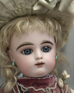"""21"""" (54 cm.) Antique French Bisque Doll Bebe with Splendid Eyes by Gaultier Freres, original dress!"""