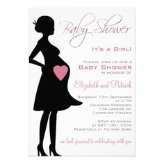 Pregnant Silhouette Purple Baby Shower Invitation