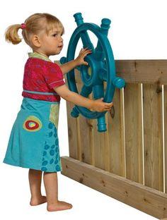 KBT Toys Steering Wheel Boat 'Star'- Turquoise - Activity Toys Direct - TP Toys and Toys - Activity Toy Specialists for the UK Kids Cubby Houses, Kids Cubbies, Play Houses, Kids Outdoor Play, Outdoor Toys, Outdoor Fun, Wooden Outdoor Playhouse, Playhouse Ideas, Pirate Ship Wheel