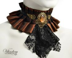 Steampunk Choker Necklace with brown glass crystal by Vilindery