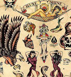 Sailor Jerry Tattoo Flash Poster Print by MarkPaintAndPrints Sailor Jerry Flash, Rockabilly Tattoos, Retro Tattoos, Vintage Tattoos, Rockabilly Tattoo Designs, Equality Tattoos, Hawaiianisches Tattoo, Tattoo Shop, Tattoo Tradicional