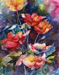 Original Watercolor Print POPPIES Flowers by RenaeHillFineArt, $28.00
