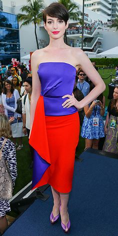 ANNE HATHAWAYin Roksanda Ilincic dress and shimmery lilac platform Charlotte Olympia heels