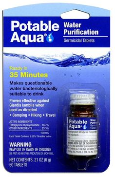 Buy Potable Aqua Water Purification Treatment Tablets) - Portable Drinking Water Treatment Ideal for Emergencies, Survival, Travel, and Camping Survival Items, Survival Gear, Survival Skills, Water Survival, Survival Prepping, Survival Hacks, Apocalypse Survival, Survival Quotes, Survival Supplies