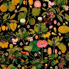 Mind the Gap Asian Fruits and Flowers Anthracite Wallpaper - Sample