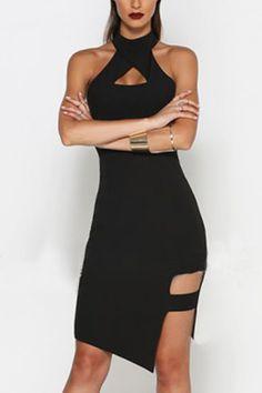 Black Halter Hollow Irregular Hem Midi Dress - US$19.95 -YOINS