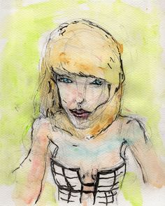 """9/23/15 - Taylor Swift. Mixed media on watercolor paper. 8"""" x 10"""". $100."""