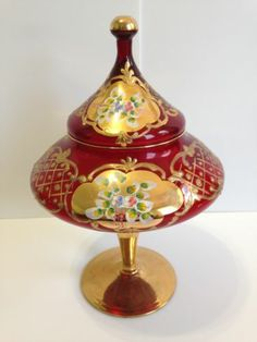 Moser Bohemian Enameled Cranberry Glass Gold Large Candy Dish | eBay