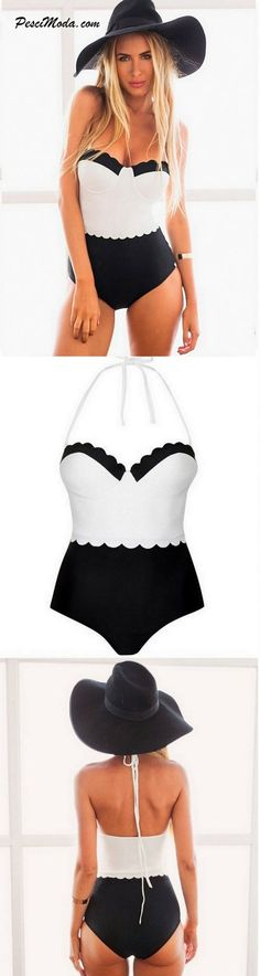 New Summer Black & White Swimsuit $15.99 Only. Get Additional 10% Off your first order at www.pescimoda.com #Summer #BeachWear #Cute #Swimwear #Bikinis #Swimsuit #Spring #Hot #Fashion #Apparel #OnePiece #BathingSuits #WomensFashion #FashionForTeens #Outfits #OutfitsForTeens #SummerFashion #Fashion2016 #ChicFashion #BohoStyle #Boho #EverydayOutfits #HippieStyle #StreetStyle #BohoChic #SexyGirls #HolidayOutfits