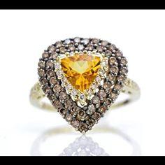 Designer LeVian yellow citrine gemstone and triple white & chocolate diamond halo ring only $550! Gorgeous! #14k #gold #gemstone #citrine #whitediamonds #chocolatediamonds #levian #designerlevian