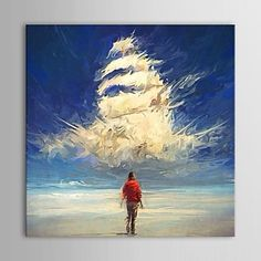 現代 アートなモダン キャンバスアート アートパネル 壁掛け 油絵の特大抽象画1枚で1セット ノアの箱舟 海 入道雲 ビーチ スカイブルー【納期】お取り寄せ2~3週間前後で発送予定【送料無料】ポイント