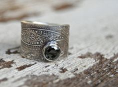 Ring. Artisan. Wide Silver Band. Black Spinel. by codysanantonio, $220.00