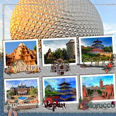 Epcot scrapbook digiscrap layout by CynthiaY