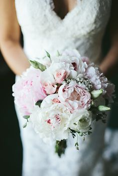 Blush and White Bouquet with Greenery